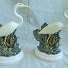 Heron Figural Pair Lamps Art Pottery Regency Birds Vintage 70s Decor Ornithology