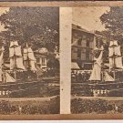 Stereoview Large Model 3 Mast Sail Boat Schooner in Town Pond US Flag July 4th