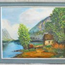California Plein Air Vintage 60s Oil Painting Beaudry Landscape Cabin Mountain