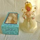 Christmas Ornament Mid Century Japan White Lighted Angel Tree Top in Box
