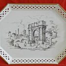 Antique Vintage Tole Toleware Hand Painted White Tray Gold Edge Roman Forum