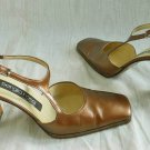 Sergio Rossi T Strap Camel Leather Mary Janes Retro Swing Sandals Shoes 37.5