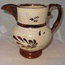"Antique Decor Lusterware Pitcher Jug White Gold Flowers Victorian Romantic 6"""