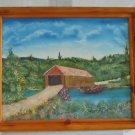 Vintage 80s Oil Painting R Cunningham Old Covered Bridge Mid West Landscape