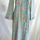 Vintage 50s NOS Leron Couture Negligee Robe Hostess Gown Cossack Floral Maxi