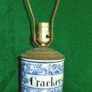 LAMP Blue and White Fancy Vines Vintage Pottery Cracker Jar Wood  Copper Decor
