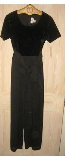 Jumpsuit Wide Leg Velvet Bodice Chiffon Deadstock with Tags Vintage 80s  CDC 8