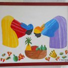 Modernist Original Haitian Painting Gilda I Arroyo Painting Smelling Fruit Women