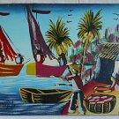 Haitian Painting Signed Joseph Vintage 70s  Fishing Village Fisherman Sail Boat