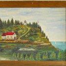 Michigan Lighthouse Folk Art Marine Painting Vintage Original Oil E. Hontons