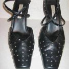 Studded Leather Ankle Wrap Pumps Sandals Black Leather Grunge Ann Marino  8.5M