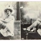 Stereoview Unmounted Silver Print Photo Risque Lady Evening Semi Nude Victorian