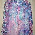 Tuxedo Shirt Rat Pack Child Marble Print Vintage 60s NOS Deadstock Ruffle Purple