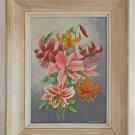 Vintage Original 60s Painting Flowers Modernist Wild Lily Wackrowe Framed