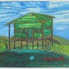 Folk Art Vintage Painting Louisiana Southern Bayou Swamp Shack Fox 1970