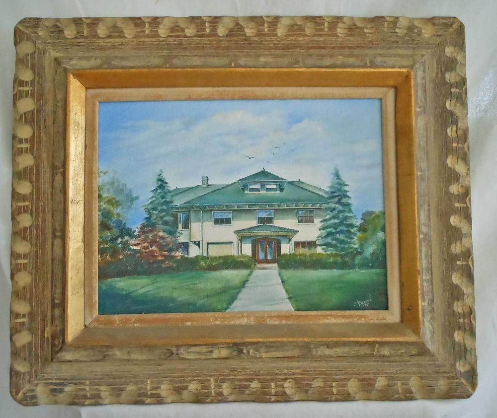 Vintage Mid Modern Arts Crafts House Oil Painting New Jersey Beard Framed 1974
