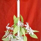 Vintage Italian Tole Chandelier Lush Flowers Daisy White Green Small Scale Light