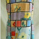 NOS Tessuto Dress Wiggle Op ART Pop Botanical Bright Print Slip Mondrian Shift 8
