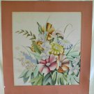 Antique Art Deco 30s Still Life Flower Watercolor on Paper Painting HARRIS 28x30