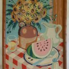Vintage Modernist Painting by Number Table Top Still Life Watermelon Sunflowers
