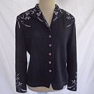 Jacket St John Evening Couture Deadstock Embroidered Faux Diamonds Sequins 8 NOS