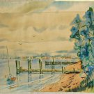 Landscape New Jersey Island Heights Watercolor Painting Ethel Hanson Fishberg