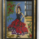 Vintage Needlepoint Flamenco Dancer Spanish Hollywood Regency Red Dress Framed