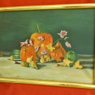 Vintage 80s Autumn Fall Pumpkins Gourds Oil Painting Still Life Evon Halloween