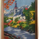 Vintage Needlepoint Landscape Snowy Mountains Alpine Church River New England