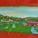 Vintage Folk Art Painting on Wide Board JE Mayer Pennsylvania Farm Landscape 71