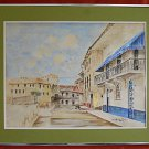 Eugenio Dunn Panama Canal Zone Vintage 80s Painting Watercolor Colonial Town