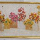 Vintage Modernist Original Panel Oil Painting Pots Flowers  Summer Mili Sosberg