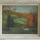 New England Fall Foliage Vintage Original Oil Plein Air Painting Naive  F M Lutz