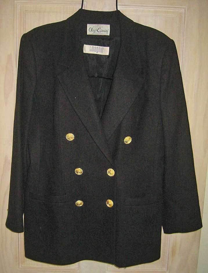 Blazer Oleg Cassini Wool Nautical Double Jacket 14 Vintage 70s NOS with Tags