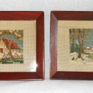 Vintage Needlepoint Pair House Winter Snow Landscape Summer Matching Frames