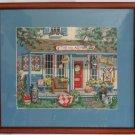 Vintage Needlepoint Village Peddler Store Front Modernist Flowers Summer Framed