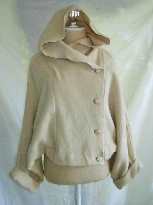 Vintage 60s Nos Merle Chicago Sculptural Wool Dolman Shrug Jacket S M Hooded