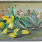 Vintage Painting Golda Andrews Allegorical Artists at Work Inside Tulips Texas