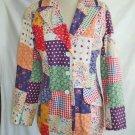 Vintage 70s NOS Jacket Boho  Patchwork Effect Trophy Jacket Blazer Geist 9 10