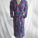 Belle France Wrap Dress Maxi Floral Print Draped Sarong Nos 12 Muted blues pinks