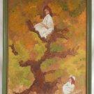 Vintage Oil Painting Tomboy Girl Tree Victorian Fantasy Impressionist  B Fields