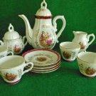 Antique Louis XIV  Style Coffee Set 4 Japan Porcelain White Purple Magenta