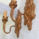Vintage Antique Pair Candle Sconces Gilded Wall Lamps Scroll Torchiere Classical