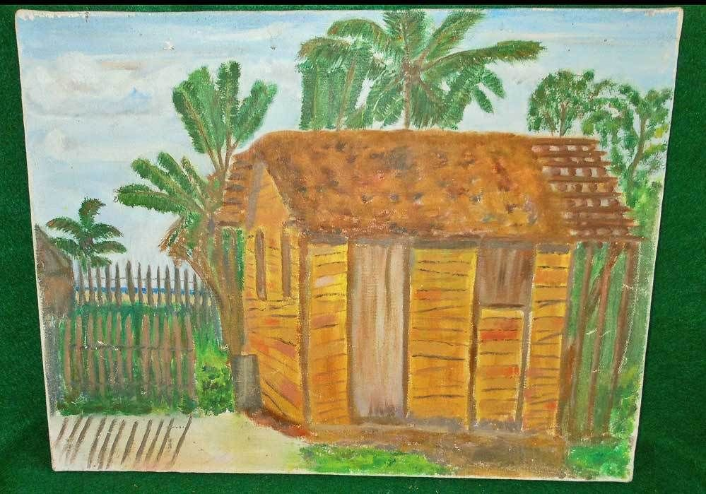 Original Vintage Haitian Painting Oil on Canvas Wooden Shack Beach Surfs UP
