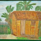 Original Vintage Haitian Painting Oil on Canvas Wooden Shack Beach Surfs UP