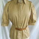 Valentino NOS Safari Peplum Sexy Belted Jacket Short Puff Cargo Sleeve Cape Back