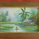Antique Vintage Painting Tropical Marine Landscape Polynesia Thatch Hut  S. B.