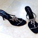 Beverly Feldman Vintage Sandals Dripping Faux Diamonds Necklace Detail  7.5M