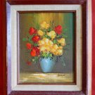 Vintage 50s Oil Painting Moody Still Life Flowers Benson Dramatic Wood Frame