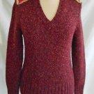 Escada NOS Cashmere Wool Suede Leather Ski Heather Tweed Raw Edge Wine Sweater S